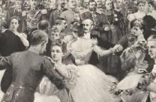 Artur Halmi: Ball bei Hof – Schluss der Quadrille, Zeichnung, 1898