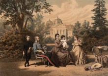 Die kaiserliche Familie im Schloßpark von Gödöllö. Öldruck von Vinzenz Katzler, 1882