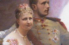 Sophie Görlich: Allegorie auf die Verlobung von Kronprinz Rudolf mit Stephanie von Belgien, Öl auf Leinwand, …