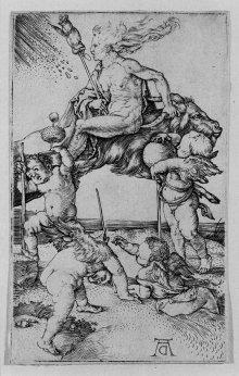 Albrecht Dürer: Fliegende Hexe, Kupferstich (Repronegativ), um 1505
