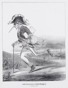 Anton Zampis: Caricature: 'Every constitution requires exercise / 14 March 1848', chalk lithograph