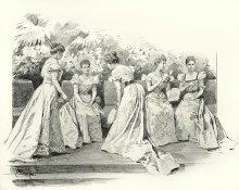 Arthur Halmi: Hofball – Im Theesalon, Zeichnung, 1898