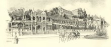 Artur Halmi: View of the royal palace at Buda, drawing, 1898
