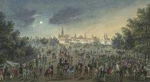 """Balthasar Wigand: """"Wien zu sehen von der Brigittenau zur Zeit der Kirchweihe"""", um 1820, Gouache"""