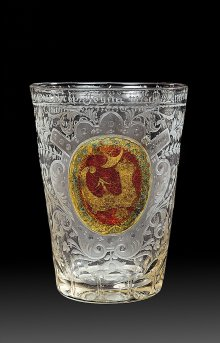 Beaker with the device of the cobblers' guild of Iglau, Czech lands, 1722