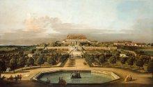 Bernardo Bellotto: View of Schloss Hof from the gardens, oil painting, 1759/60