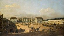 Bernardo Bellotto, gen. Canaletto: Schönbrunn - Ehrenhofseite, Ölgemälde, 1759/60