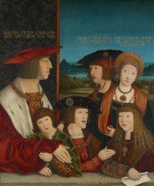 Bernhard Strigel: Kaiser Maximilian I. mit seiner Familie als Heilige Sippe, 1520, Öl auf Holz