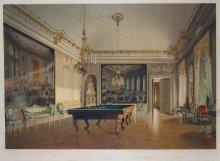 Billardzimmer Kaiser Franz Josephs in Schönbrunn, Chromolithographie nach einem Aquarell von Franz Heinrich, …