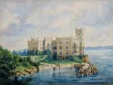 View of Schloss Miramare, watercolour, 19th century