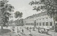 C. F. Strahlheim: Augarten – Saalgebäude, Stahlstich, 1834/37