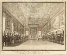 C. Wigel: Darstellung der Verleihungszeremonie des Erbrechts an Erzherzog Karl zum König von Spanien, Kupfers…