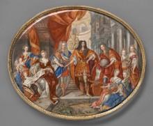 Charles Boit: Ovale Emailplatte mit Leopold I. im Kreis der Familie, 1703, Emaillemalerei auf Goldplatte