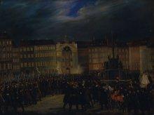 Défilé der Nationalgarde am Platz Am Hof 1848