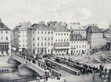"""""""Die Kaffeehäuser an der Ferdinandsbrücke"""", nach einer Lithografie von Wilhelm Mayer"""