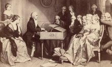 Edouard Hamman: Mozart at the spinet, performing selections from *Don Giovanni* for the first time to a sma...