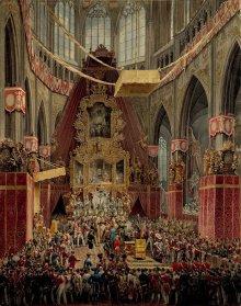 Eduard Gurk: Die Krönung Kaiser Ferdinands I. zum böhmischen König im Dom zu Prag 1836, Aquarell, um 1836