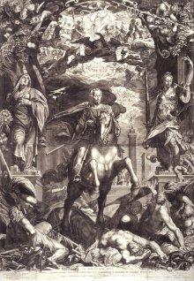 Egidius Sadeler: Emperor Ferdinand II triumphs over his enemies, copperplate engraving, 1629