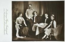 Archduke Franz Ferdinand of Austria-Este with his family, postcard, 1913