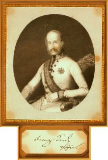 Archduke Franz Karl, steelplate engraving, with autograph signature