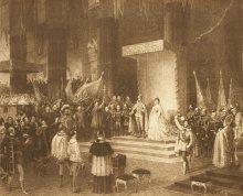Feierliche Krönung Franz Josephs und Elisabeths zum König und zur Königin von Ungarn, Stahlstich, 1867