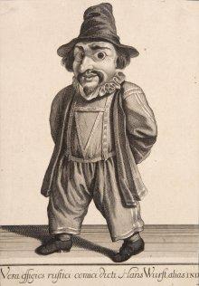 Figurine: Hanswurst, 18. Jahrhundert, Papier, Kupferstich