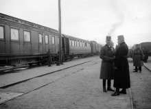 Photograph: Karl I, Emperor of Austria, on the Eastern Front in Ozydow, original negative, 9 December 1917