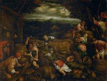 Francesco Bassano: Autumn (grape harvest), oil on canvas, c. 1585/1590