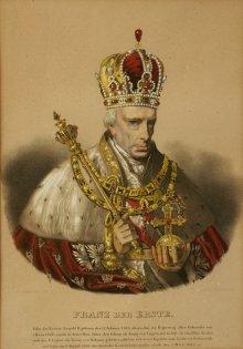 Franz II./I. mit Hermelinmantel und Krönungsinsignien, Lithografie