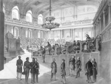 Franz Kollarz: Vorbereitende Sitzung des Reichstages in Wien, Juli 1848, Lithographie nach eigener Zeichnung