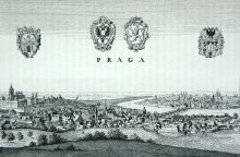 Friedrich König: View of Prague after Merian's *Topography* of 1650, drawing, 1894