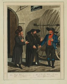 Georg Emanuel Opitz: The Polish Jews and the heavy goods carter in Vienna, coloured aquatint, c. 1810