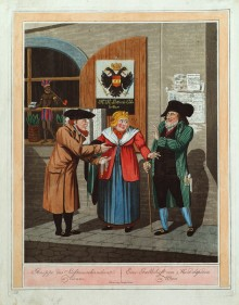 Georg Emanuel Opitz: A company of Jewish traders in Vienna, coloured aquatint, c. 1810