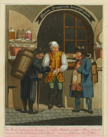 Georg Opitz: 'A cheese-plugger, a seller of wooden clocks and an ash-collector in Vienna', from a series il...