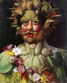 Giuseppe Arcimboldo: Emperor Rudolf II as the harvest god Vertumnus, 1590/91, painting