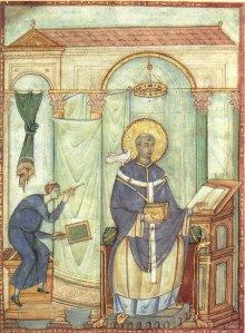Gregormeister: Gregor in Pontifikaltracht (Gregorblatt), um 985