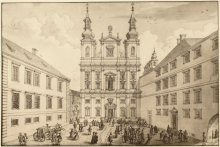 H. Sperl (after Salomon Kleiner): The church and Academic College of the Society of Jesus, 1724, copperplat...