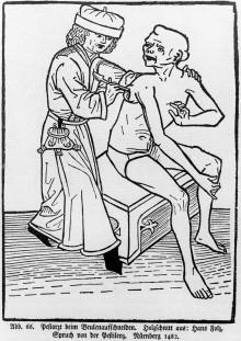 Hans Folz: A plague doctor lancing a bubo, woodblock print, 1482