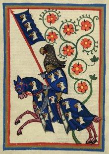 Herr Hartmann von Aue, fiktives Autorenporträt im Codex Manesse, fol. 184v, um 1300