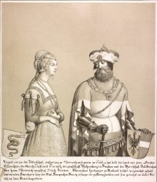 Duke Leopold III with his wife, lithograph, 1820
