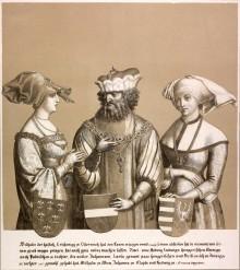 """Herzog Wilhelm """"der Ehrgeizige"""" mit seiner ehemaligen Verlobten und seiner Gemahlin, Lithografie, 1820"""