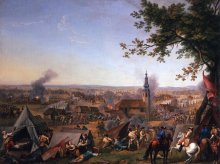 Hyacinth de La Pegna: The attack on the Prussian camp at Hochkirch on 14 October 1758, oil on canvas, c. 17...