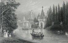 J. J. Hinschliff (nach J. Alt): Franzensburg, Ansicht über den Teich Richtung Fährturm, Stahlstich, 19. Jahrh…