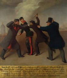 J. J. Reiner: The attempted assassination of Emperor Franz Joseph I on 18 February 1853, oil painting, 1853