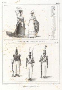 J.B. Debret: brasilianische Hofdamen und Soldaten, Lithographie