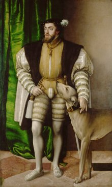 Jakob Seisenegger: Emperor Charles V with his English water dog, 1532