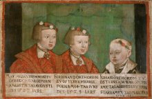 Jakob Seisenegger: Emperor Maximilian II with his brothers Ferdinand II and Johann, 1539