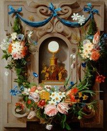 Jan Anton van der Baren: The Eucharist wreathed in flowers, painting, 1635-1659