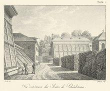 Jatsche / Piringer: The glasshouses at Schönbrunn, etching, 19th century