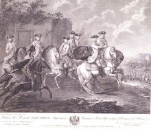 Johann Christian Brand: Joseph II. mit sieben seiner Generäle zu Pferd, Radierung, 1779